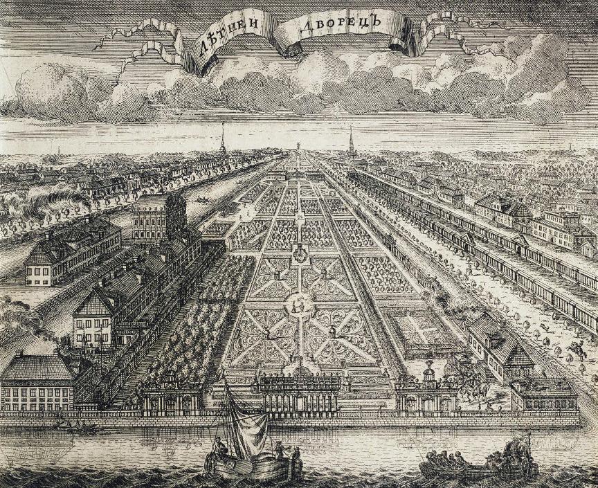 Letni dvorec in Letni vrt v Sankt Peterburgu, 1716.