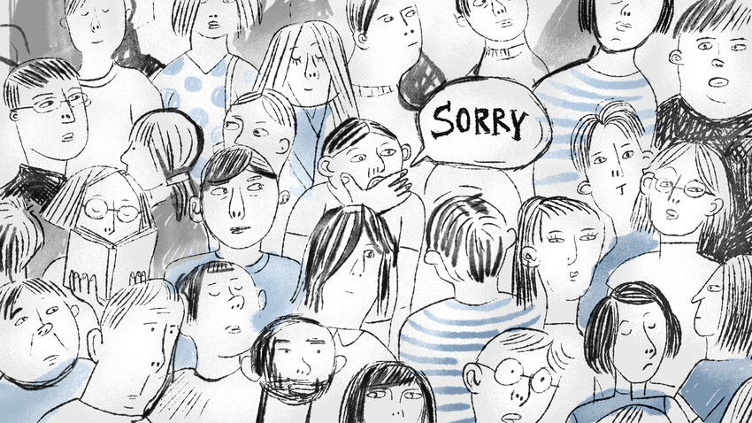 "Saat berada di tengah kerumunan, Anda kemungkinan akan lebih sering mendengar kata ""sorry"" daripada padanan bahasa Rusianya."