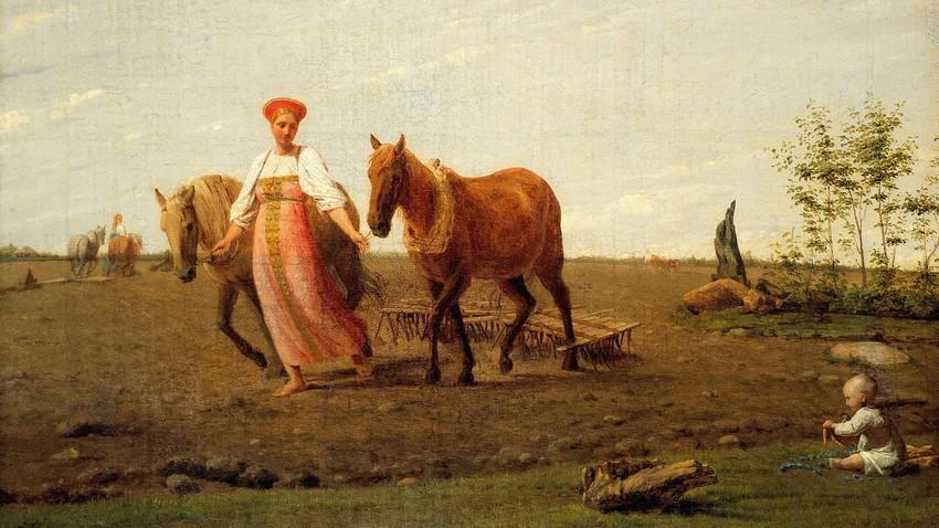 """Primavera, em terra arada"", 1820s, Alexey Venetsianov."