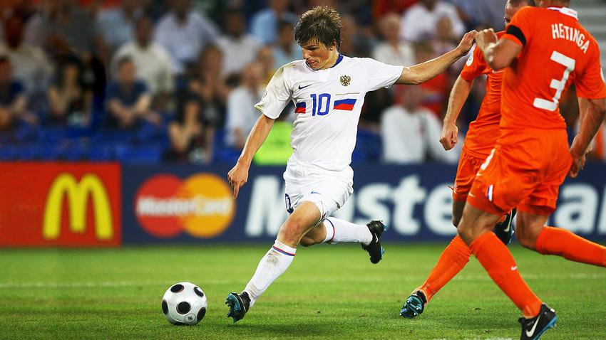 Andrey Arshavin dalam pertandingan melawan Belanda, 21 Juni 2008.