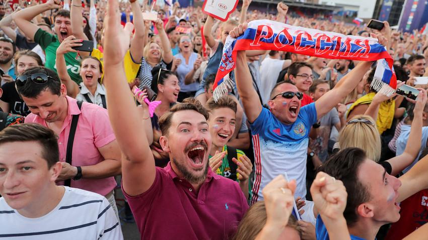 Fans celebrate fifth goal