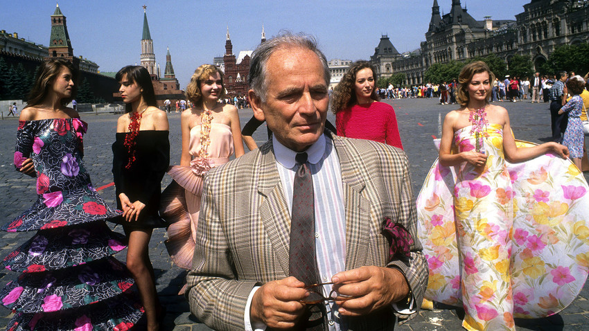 Fashion designer Pierre Cardin and his models at the Red Square in Moscow, Russia, in 1989