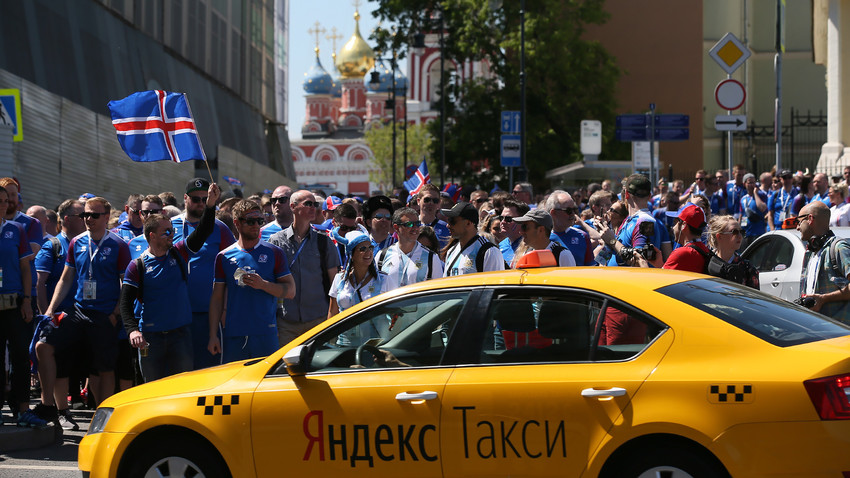 Icelandic football fans on their way from Moscow's Zaryadye Park