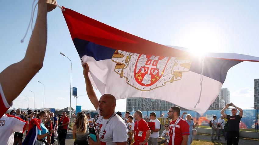 Српски навијачи пре утакмице