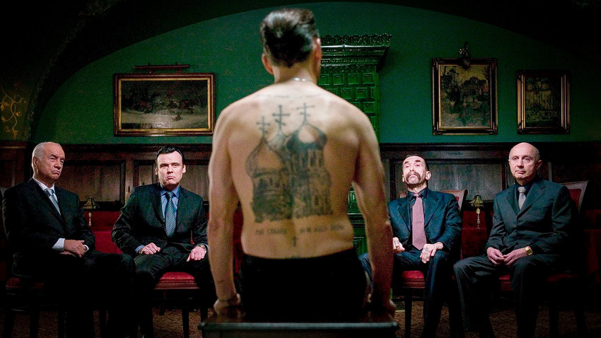 A scene from 'Eastern Promises' by David Cronenberg, a gangster film portraying Russian mafia. It was quite accurate in terms of prison tattoos.
