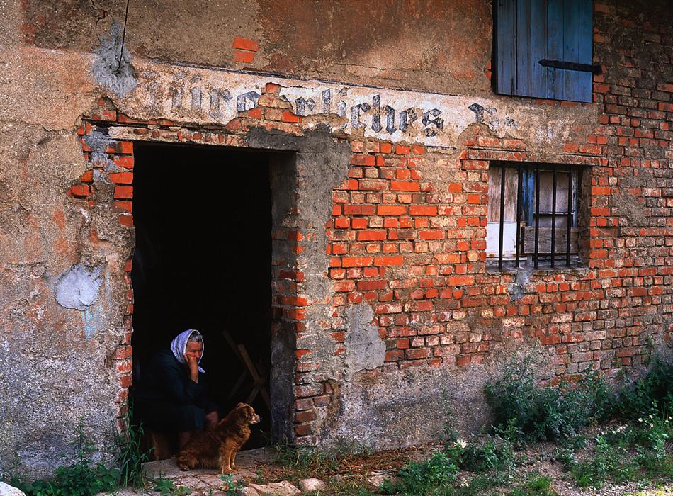 Una anciana y su perro miran desde un edificio con un cartel en alemán que todavía se puede ver en el umbral, Známensk