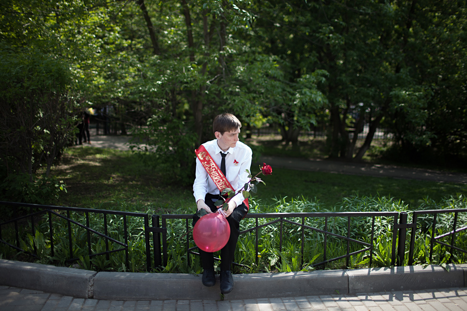 A graduating student at his Last School Bell ceremony at school No. 1517 in Moscow.