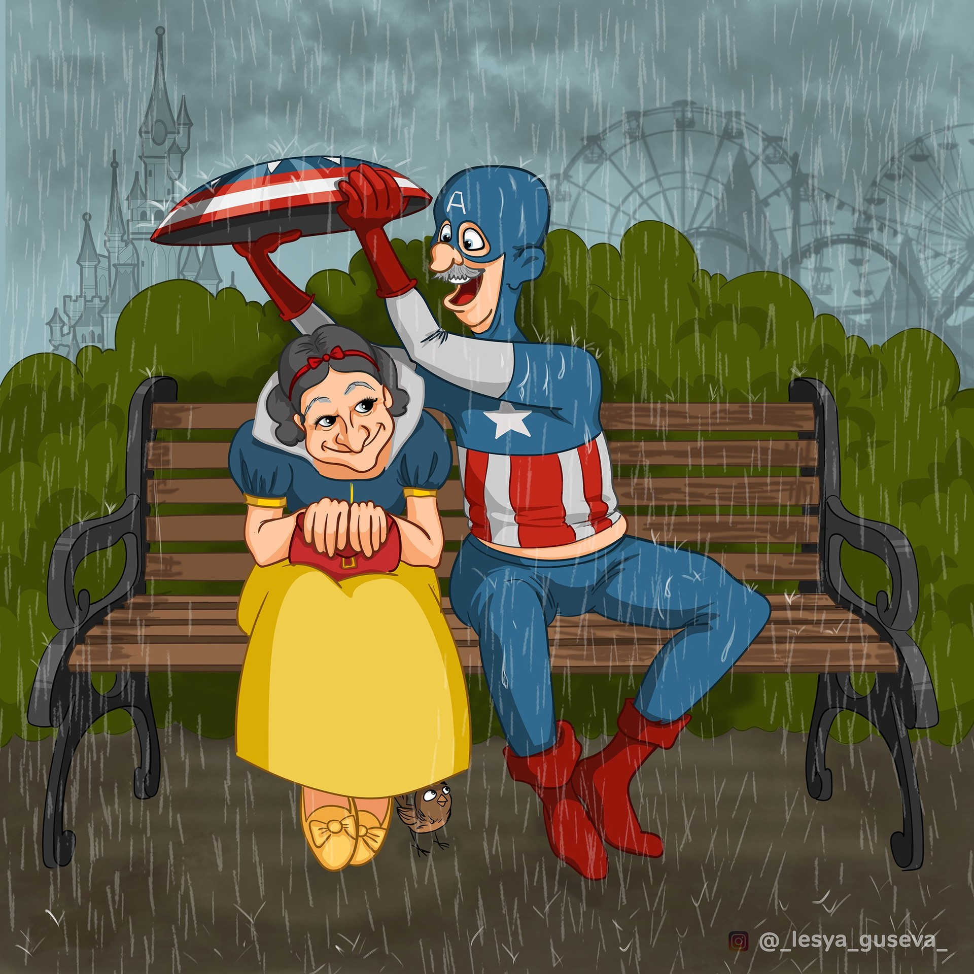 Captain America and Snow White