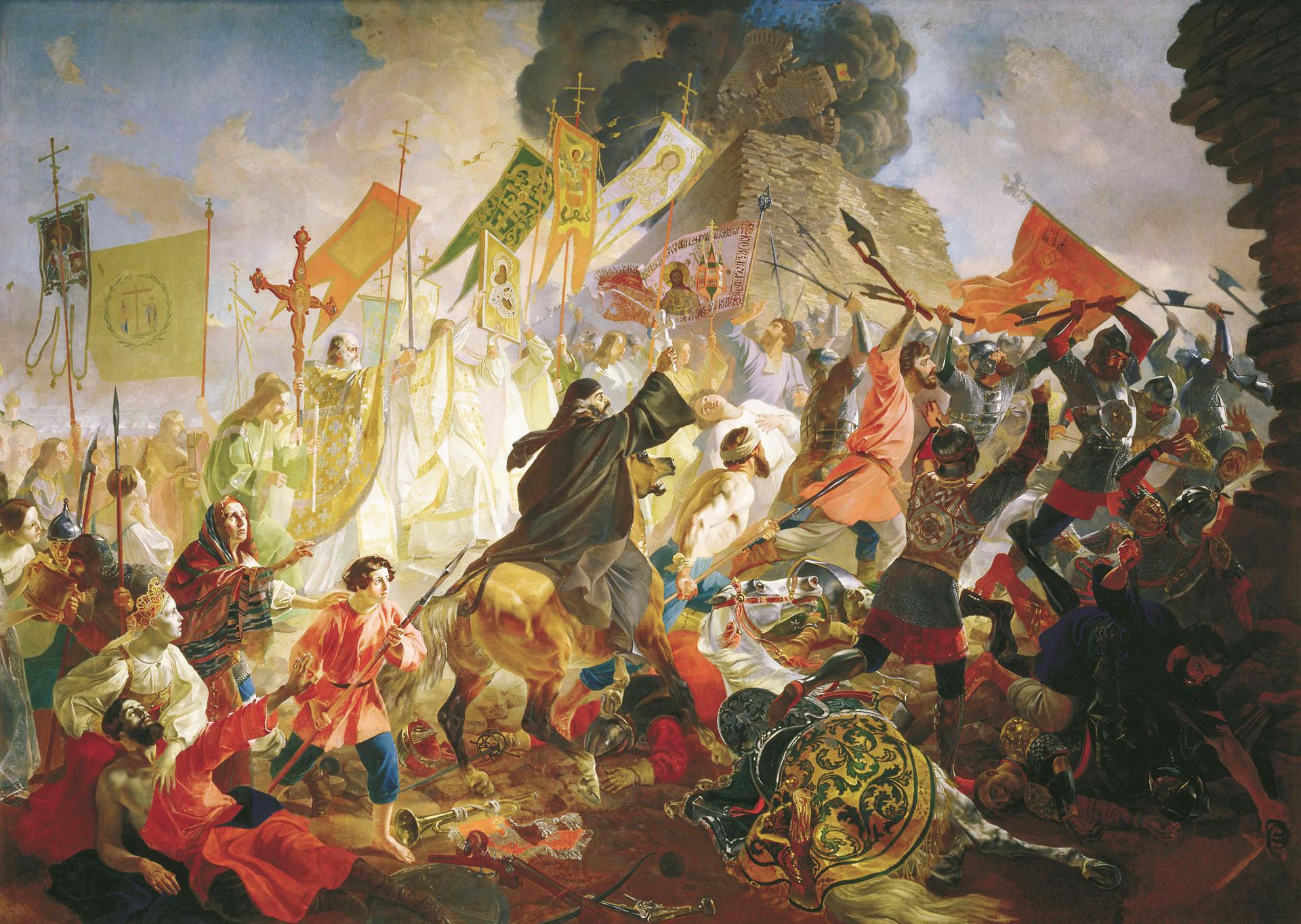 Пољски краљ Стефан Батори 1581. држи Псков под опсадом.