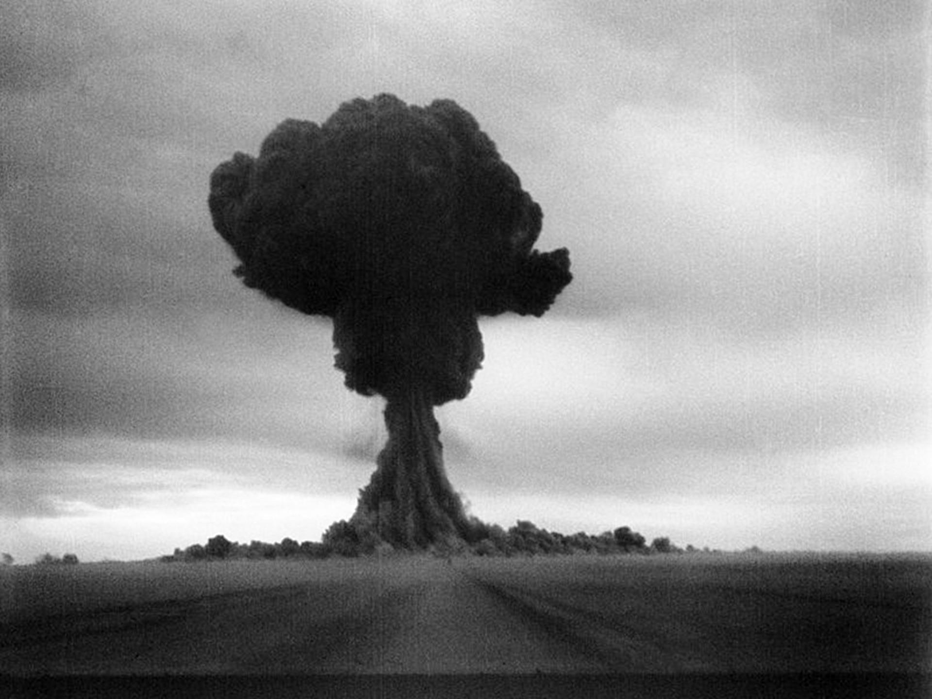 The first Soviet atomic bomb test.