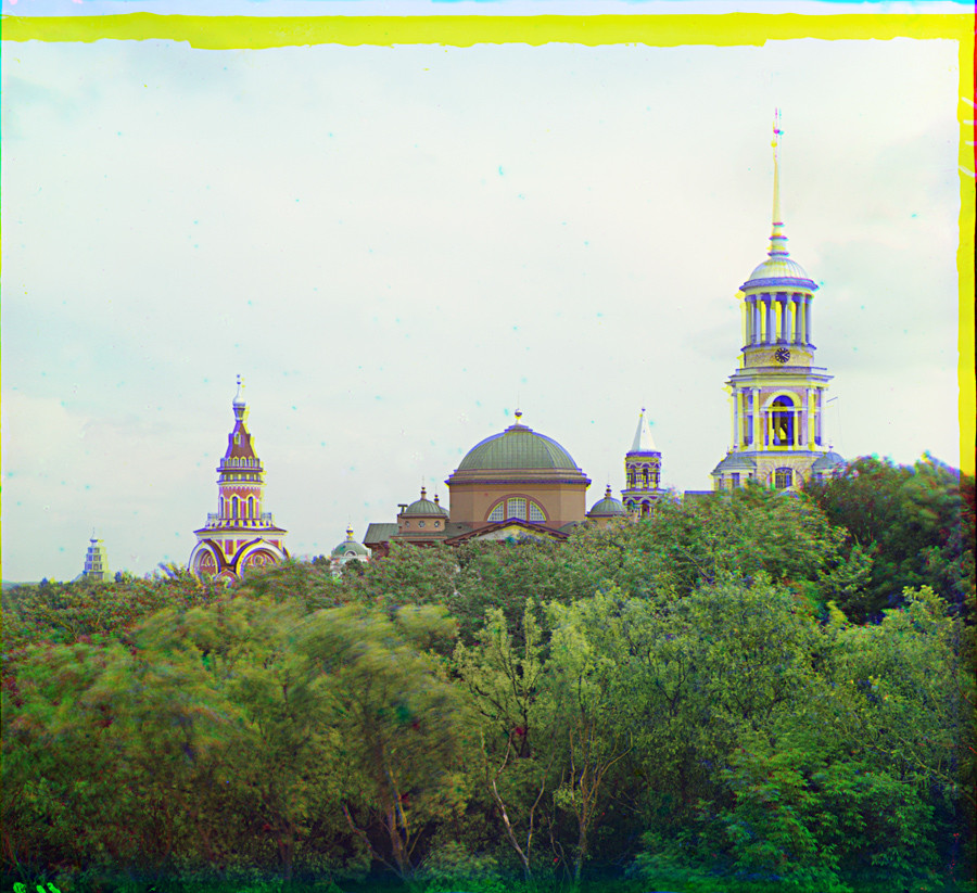 Torzhok. Monastery of Sts. Boris & Gleb, north view. Far left: Church of the Tikhvin Icon. Summer 1910.