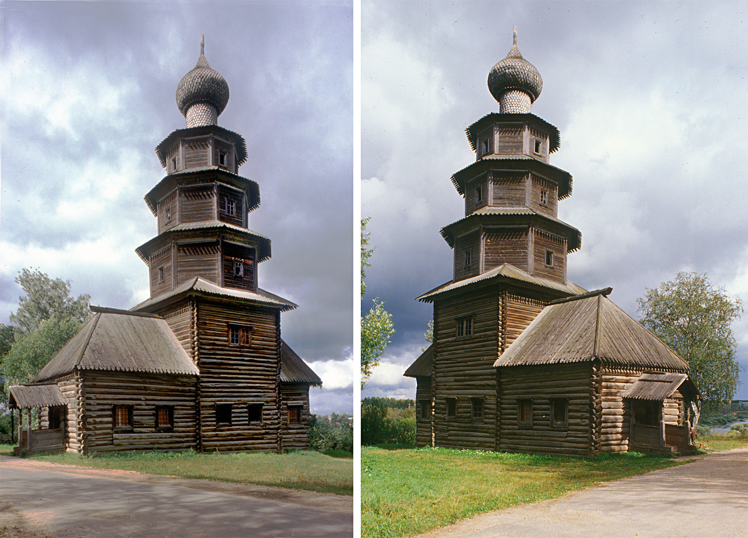 Church of the Tikhvin Icon (Old Church of the Ascension), southwest and northwest views. Aug. 13, 1995.