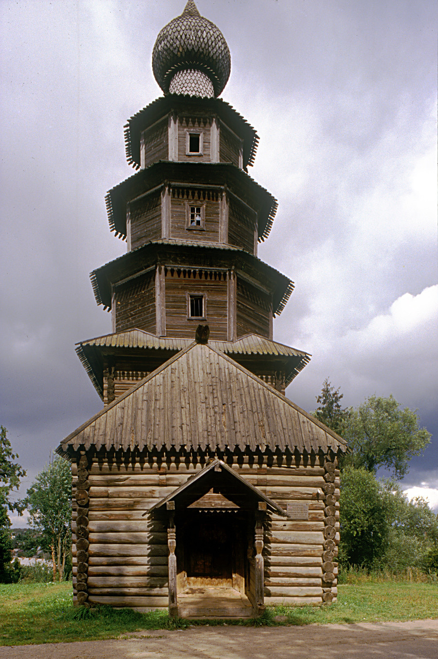 Church of the Tikhvin Icon (Old Church of the Ascension), west view with entrance porch. Aug. 13, 1995.