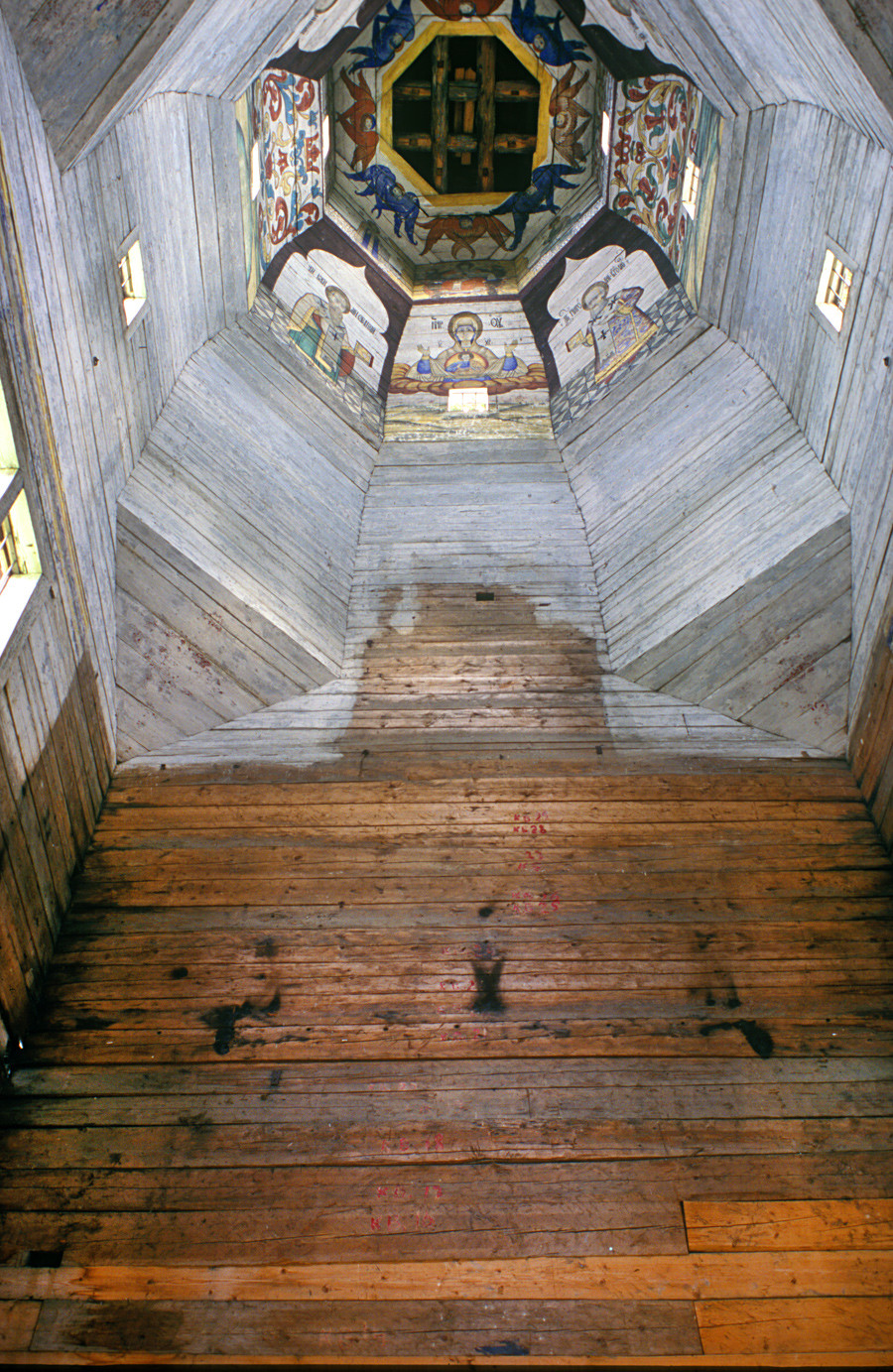 Church of the Tikhvin Icon (Old Church of the Ascension). Interior, view of tower and east wall with outline of lost icon screen. Aug. 18, 2006.