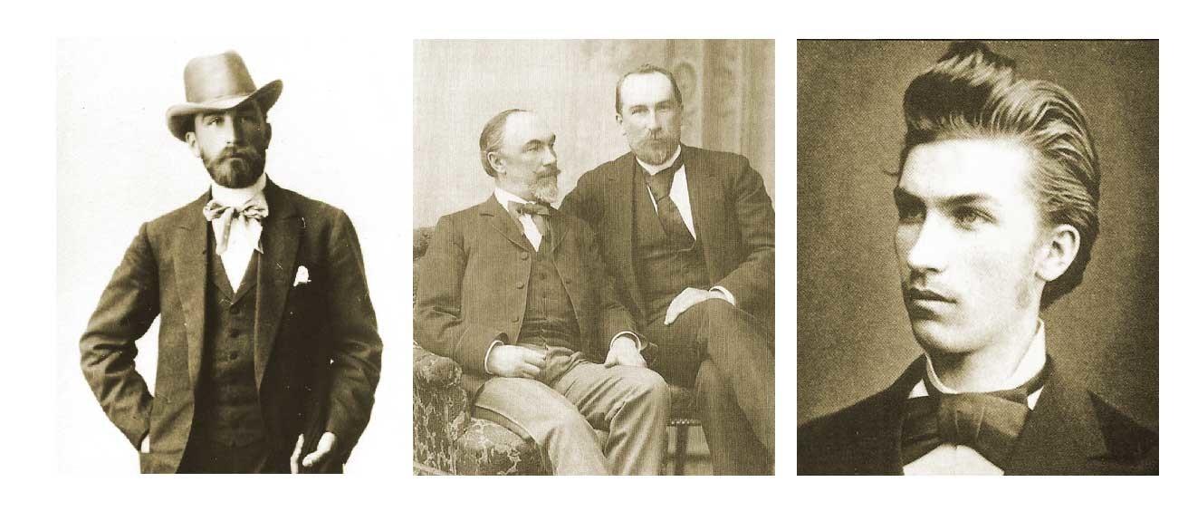 (v.l.n.r): Aleksej Abrikosow, Brüder Aleksej und Nikolai, Iwan Abrikosow (Sohn von Aleksej)