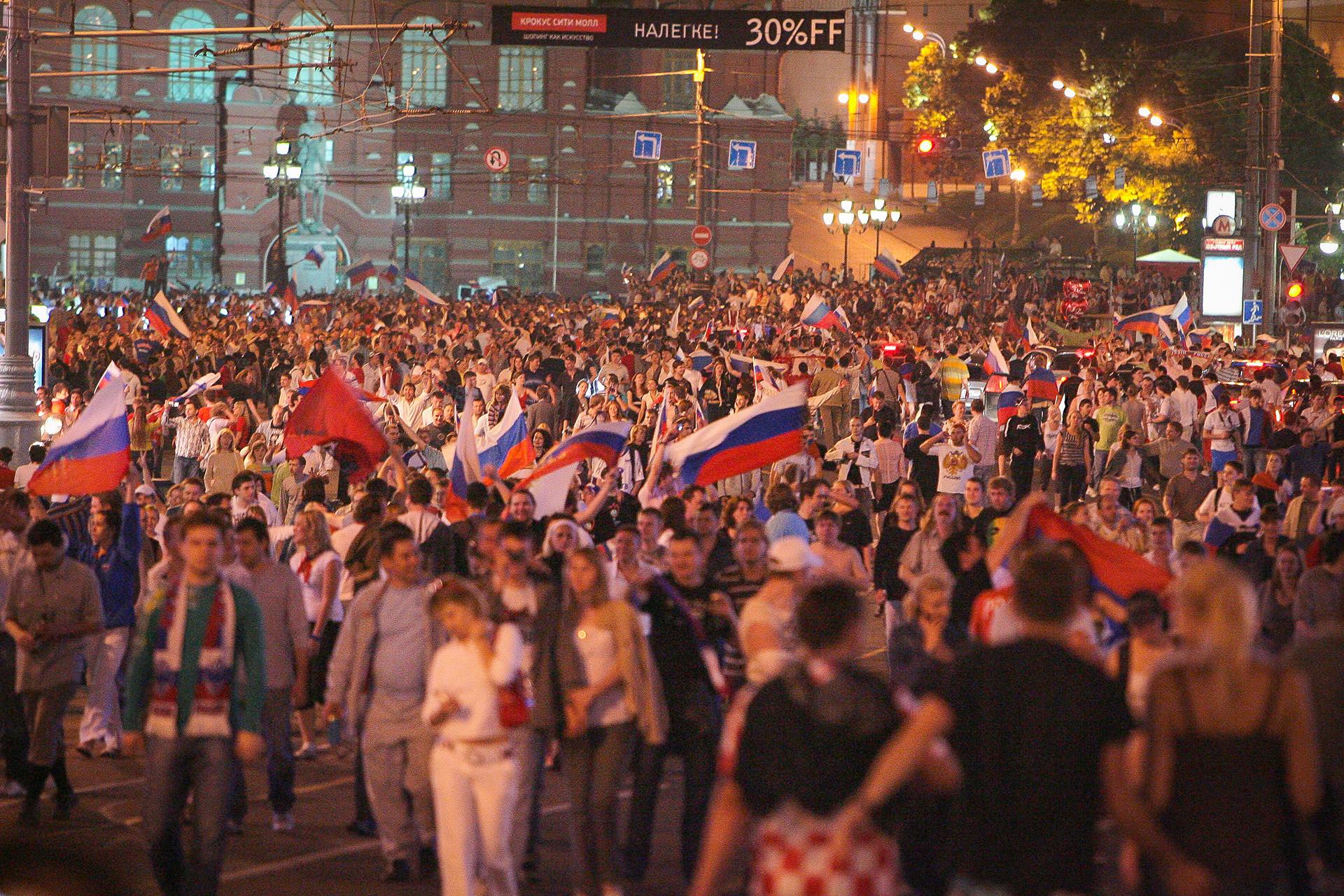 Praça Vermelha, em Moscou, após o jogo contra a Holanda, em 2008