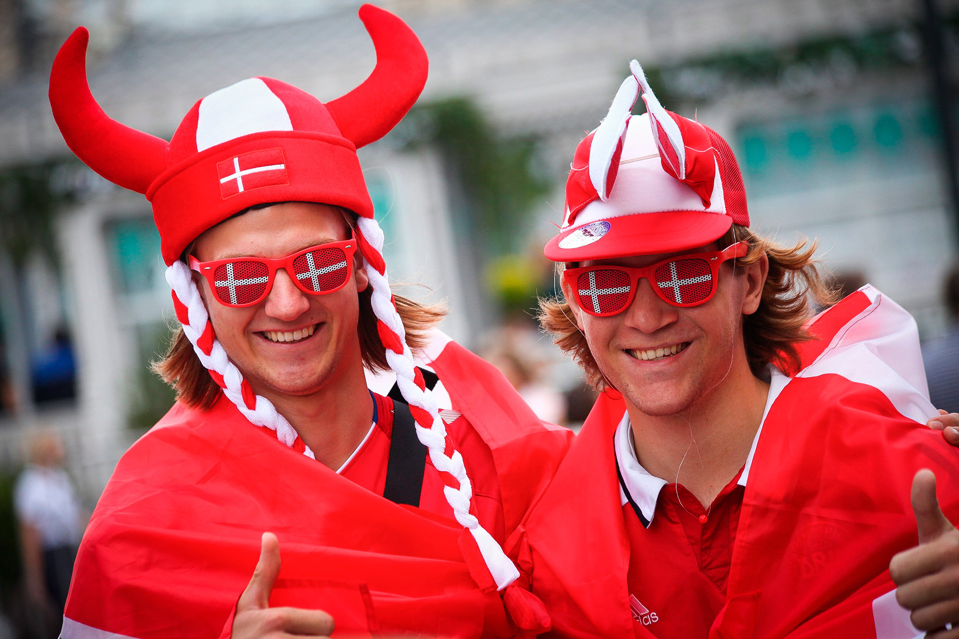 These Denmark fans are checking out Moscow before heading off to Saransk, where their team will face Peru in two days' time. The Danes will be relying on the talents of Tottenham midfield ace Christian Eriksen to carry them through to the next round.