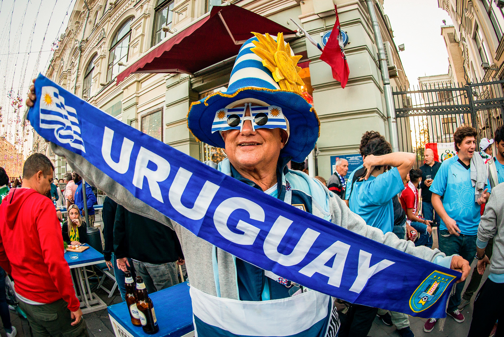 Uruguayans have been among the loudest supporters in Moscow so far. Their side is looking to break Russian hearts with the terrifying front pairing of Luis Suarez and Edinson Cavani.