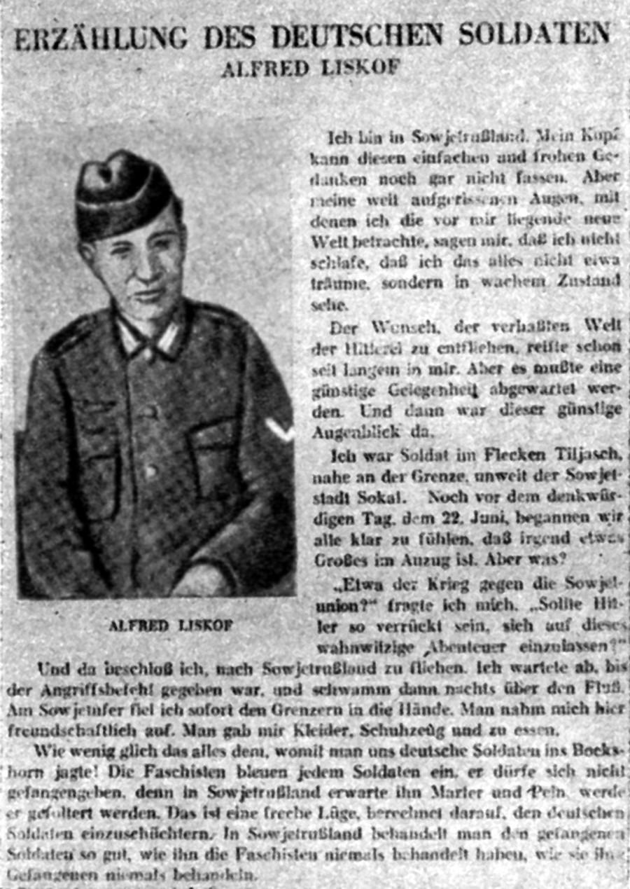 Il soldato tedesco Alfred Liskow