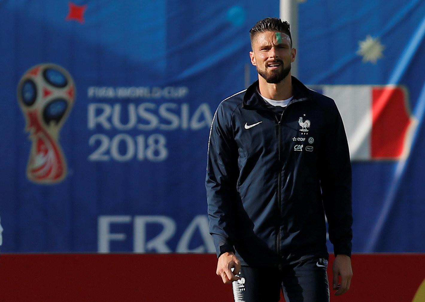 Olivier Giroud lors de l'entraînement du 11 juin.