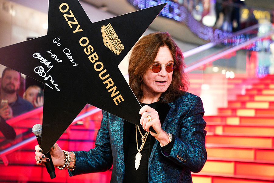 Ozzy Osbourne during a ceremony of signing his personal star on the Walk of Fame at the Vegas Crocus City in Moscow, 2018