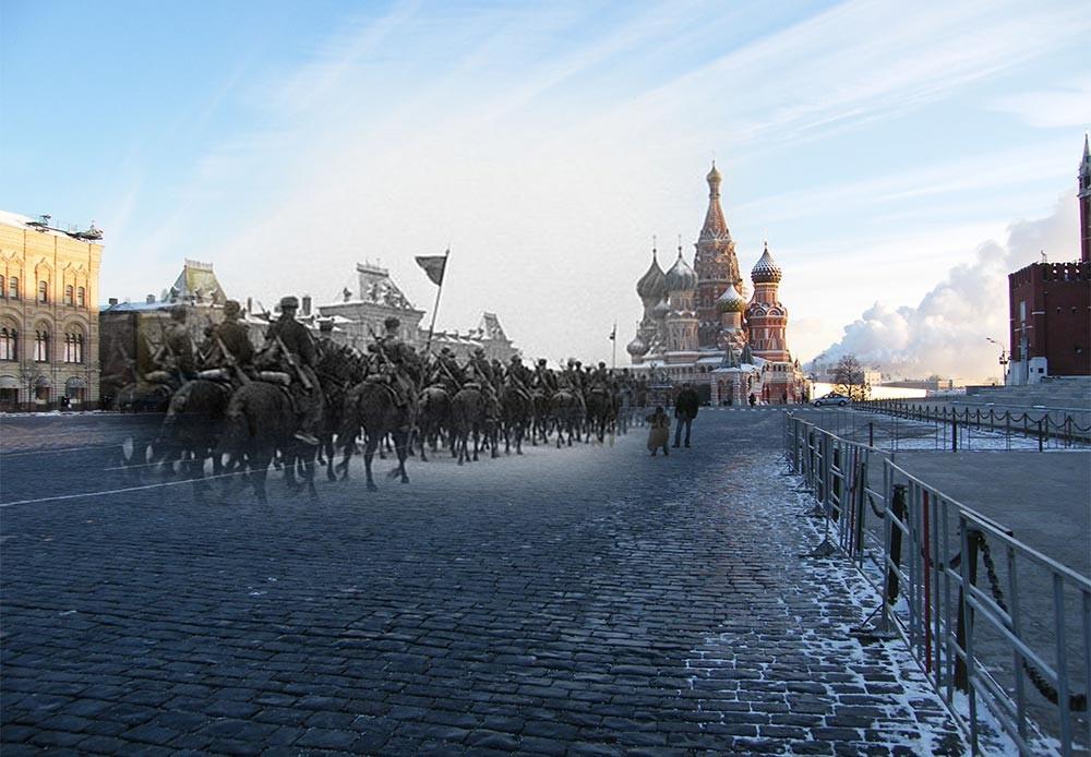 Moscú, 1941-2010. Desfile, 7 de noviembre de 1947. Las tropas marchando directamente hacia la línea del frente.