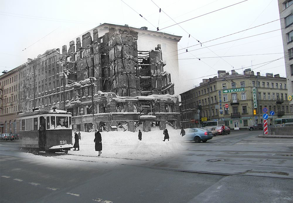 Leningrado (actual San Petersburgo), 1942-2009. Confluencia de la Avenida Lígovski y la calle Raziézzhaia.