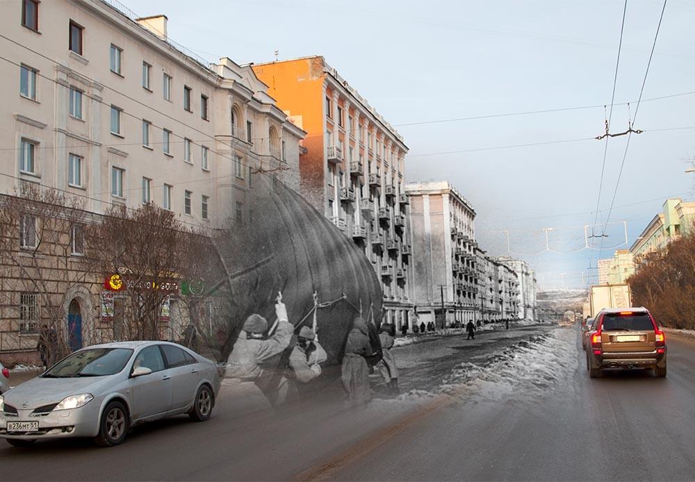 Múrmansk, 1941-2014. Traslado de un aerostato.