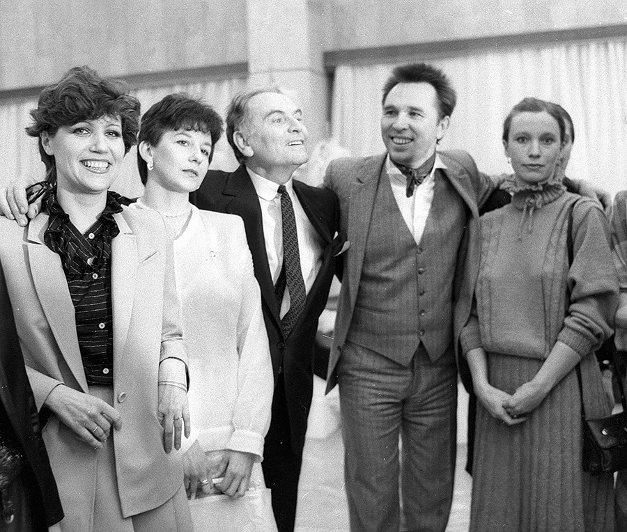 French couturier Pierre Cardin (forth from right) and Russian fashion designer Vyacheslav Zaitsev (third from right) in the Moscow Fashion House, 1983