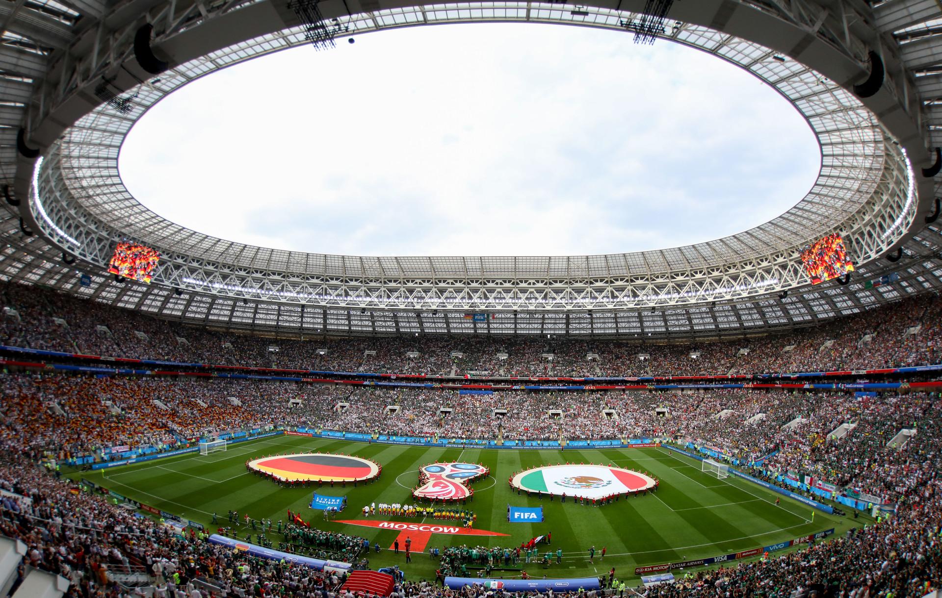 El estadio Luzhnikí antés del partido entre México y Alemania, el 17 de junio de 2018.