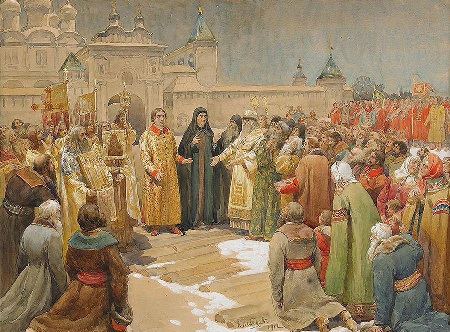 En 1613 el Zemski Sobor eligió al joven Mijaíl Romanov para dirigir Rusia como zar.