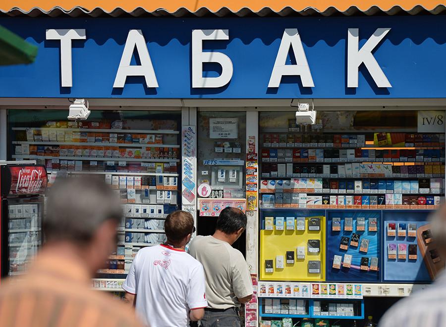 Cigarettes sold in kiosk, Omsk.