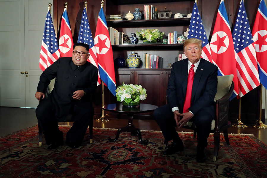 U.S. President Donald Trump and North Korea's leader Kim Jong-un meet in Singapore, June 12, 2018.