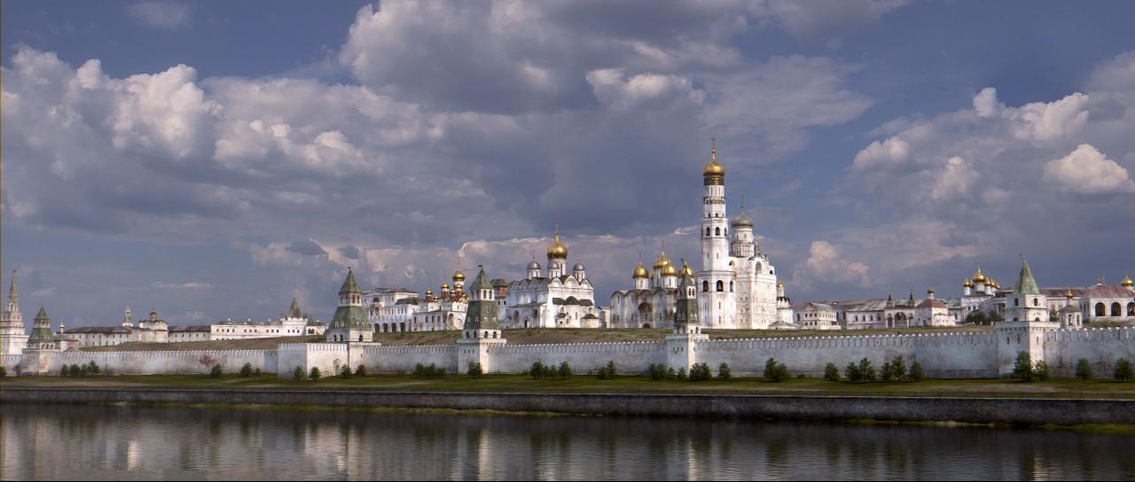 Kremelj z nasprotnega brega reke. V poznem 17. stoletju so bili zidovi in stolpi bele barve.