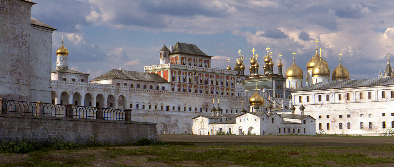 Katedrala Kristusove spremenitve in moskovski Kremelj, ena od najstarejših moskovskih katedral, uničena leta 1933, palača Terem pa stoji še danes.