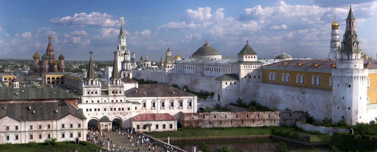 Kremelj s Tverske ulice. Na desni je kremeljski jarek z vodo in del starega mestnega obzidja Kitaj-Gorod.