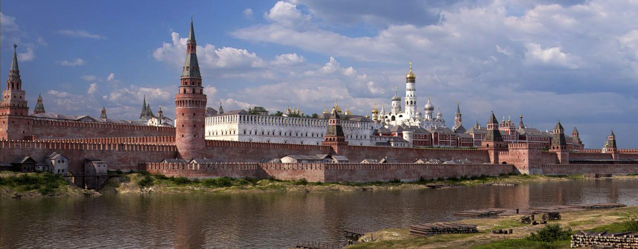 Pogled na Veliki kamniti most. Bela zgradba je skladišče Borisa Godunova, ki ga je Katarina Velika dala porušiti.