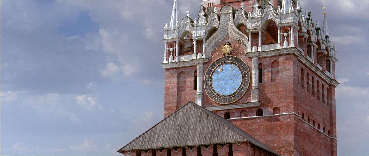 Spasski urni stolp. Staro uro je v prvi polovici 17. stoletja izdelal škotski inženir Christopher Galloway, ki je predlagal tudi izdelavo strehe nad stolpom, pod katero bi bila ura - tako so se na vseh kremeljskih stolpih pojavile enake strehe. Staro uro so z novo zamenjali leta 1701.