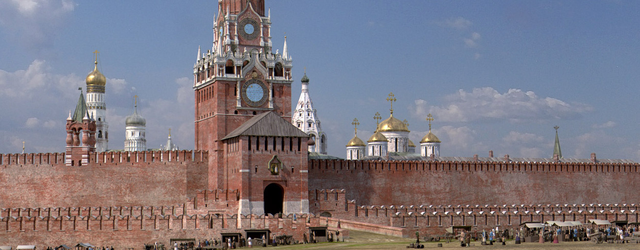 Spasski stolp, vhod. Blizu stolpa lahko vidite majhen trg. Še pred Petrom Velikim so Rdeči trg obkrožale stojnice in majhne trgovine.