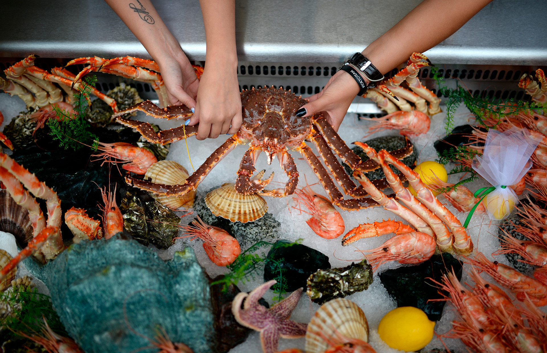 Frutos do mar bem embalados em sacolas térmicas para levar!
