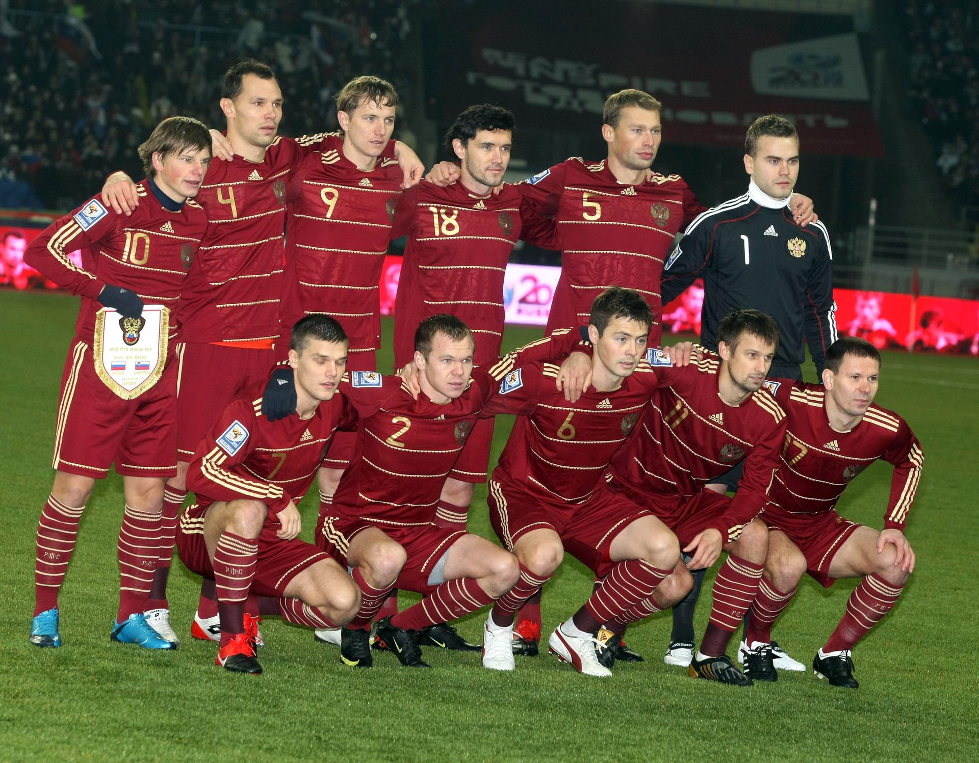 Ruska reprezentanca na prvi tekmi dodatnih kvalifikacij v Moskvi.