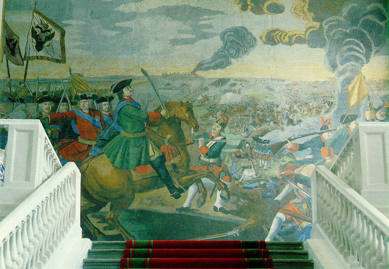 Največji izmed mozaikov Lomonosova, Bitka pri Poltavi, v zgradbi Akademije znanosti.