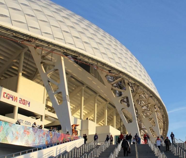 Outside Sochi's Fisht stadium before the 2014 Winter Olympic Opening Ceremony.