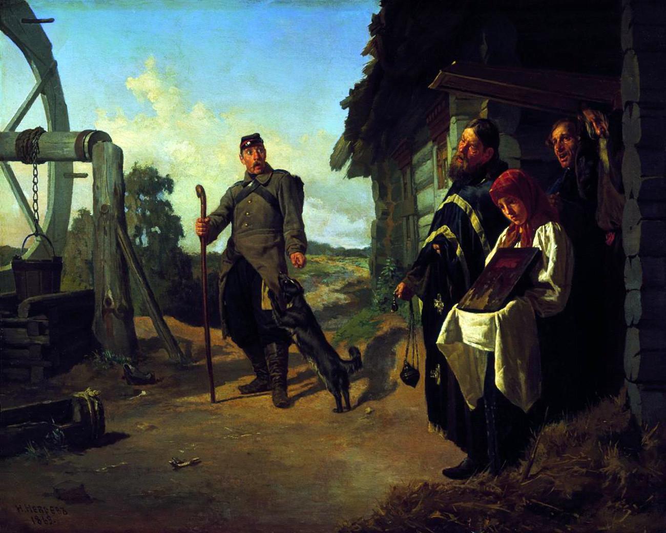 Rückkehr des Soldaten von Nikolai Newrew, 1869