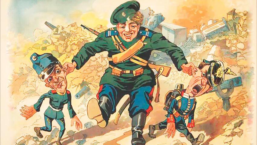 Ruski vojak je nemška pritlikavčka zgrabil za ušesa in ju povlekel naprej.