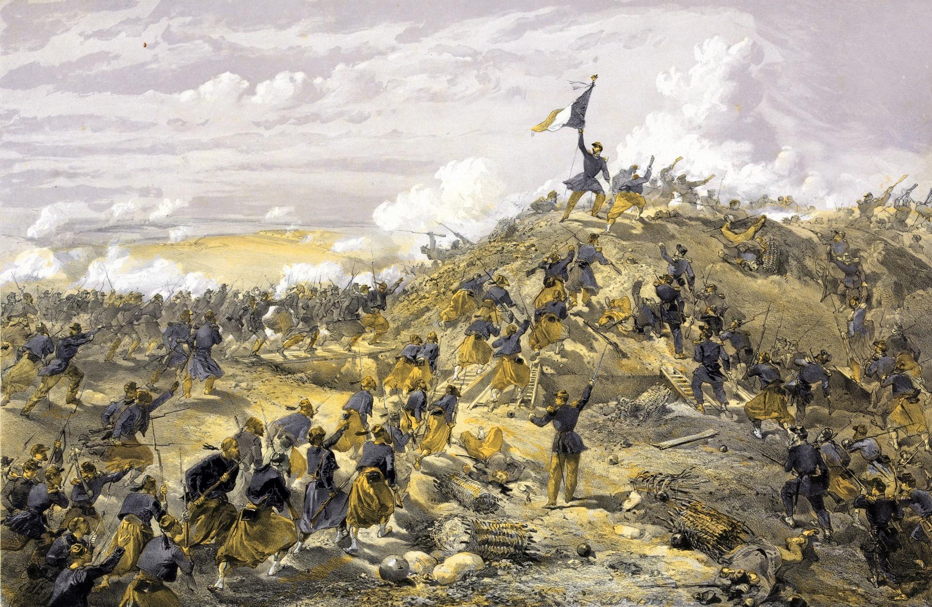 Francoski napad na rusko utrdbo Malakof pred Sevastopolom. V ospredju francoski borci zuavi iz severne Afrike.