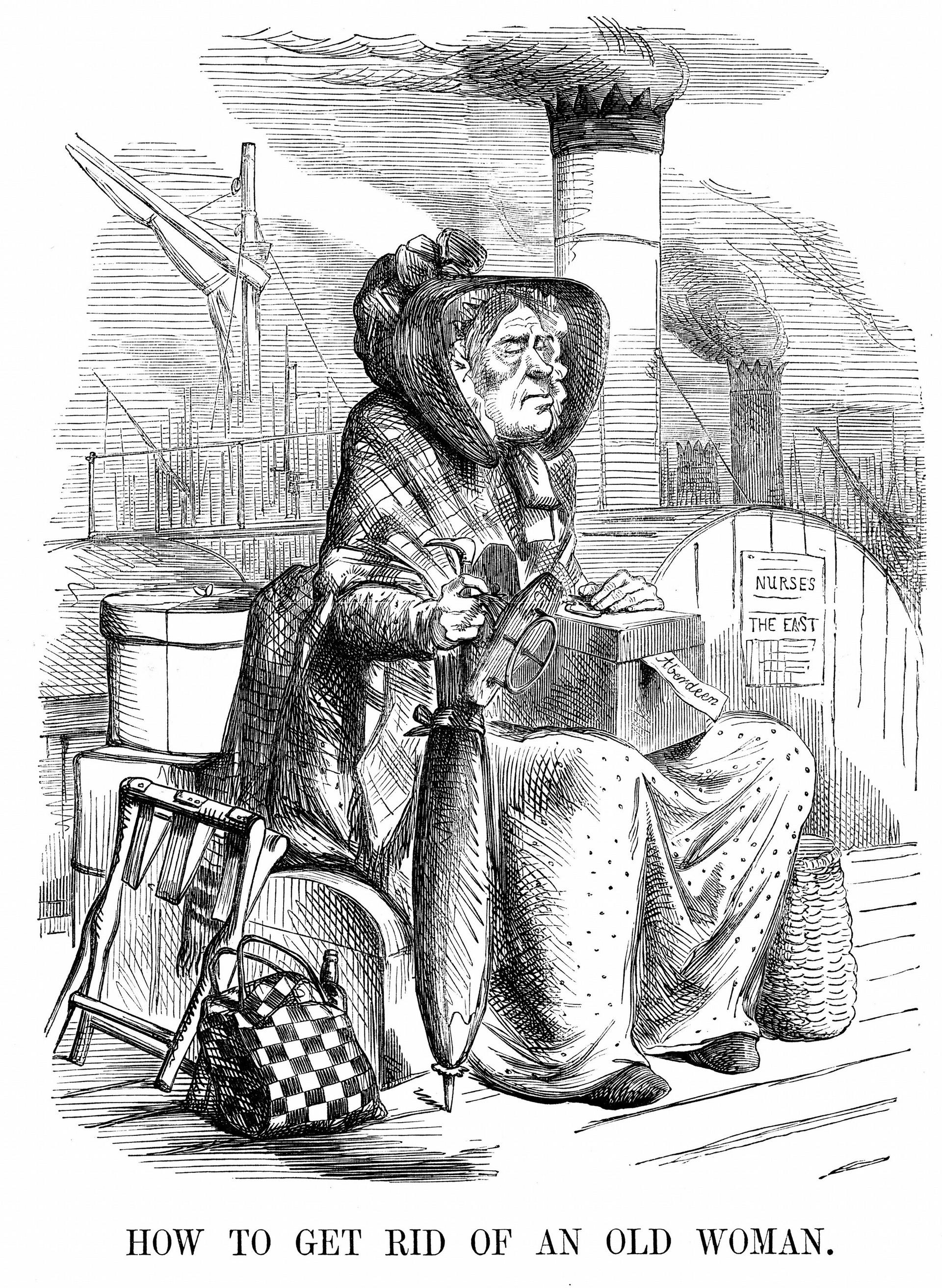 Karikatura britanskega preimerja Georgea Hamiltona Gordona, grofa aberdeenskega, ki mu časnik Punch očita slabo vodenje Velike Britanije v krimski vojne, 28. 10. 1954. Premier je upodobljen kot stara ženica oskrbovalka, ki se odpravlja celit rane britanskim vojakom na Krimu.