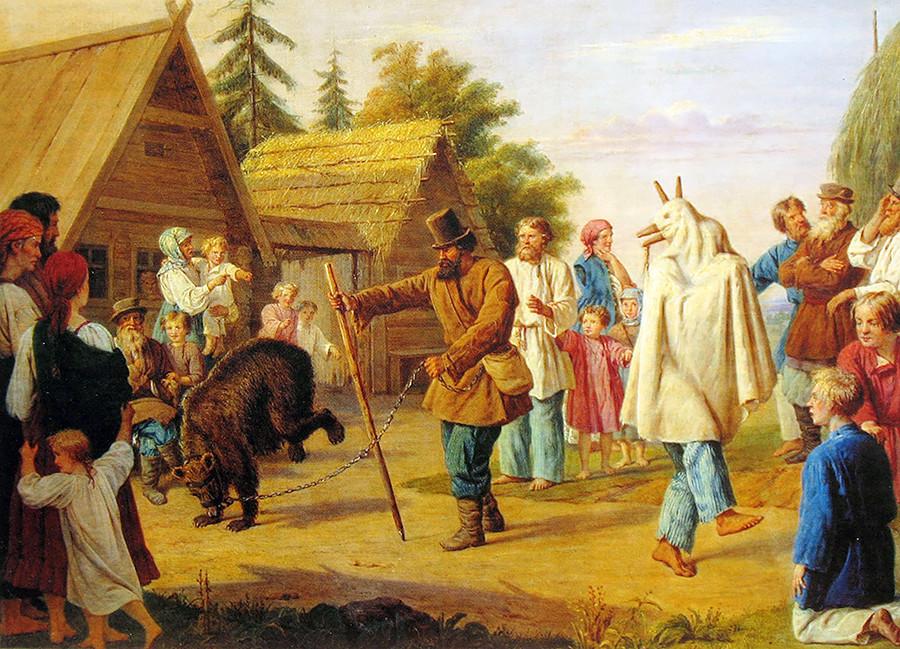 Potujoči pevci skomorohi v ruski vasi