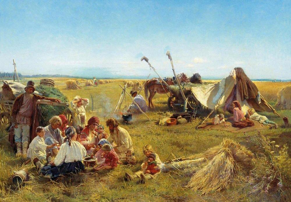 Almuerzo de campesinos durante la cosecha, 1871.