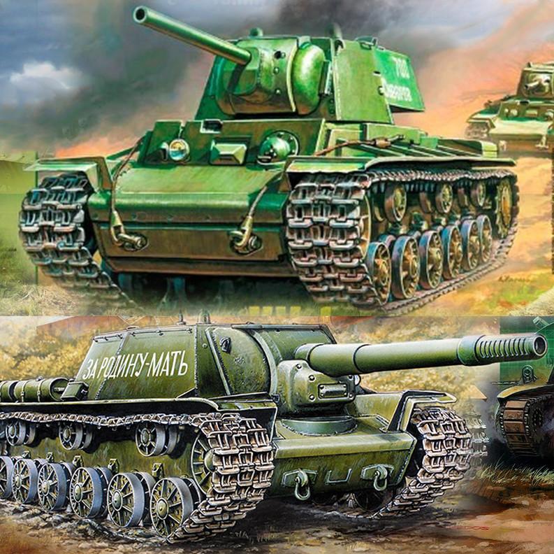 Совјетски тешки тенк КВ-1 и тешки самоходни ловац тенкова Су-152